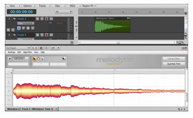 2.Melodyne 基本操作,設定循環播放、視圖縮放